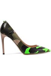 Valentino Paneled Leather And Canvas Pumps Green