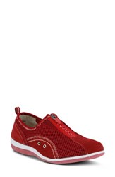 Spring Step Racer Slip On Sneaker Red Leather