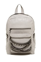 Ash Domino Small Leather Backpack Gray
