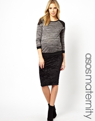 Asos Maternity Pencil Skirt In Crushed Velvet