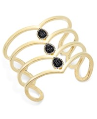 Inc International Concepts Gold Tone Jet Pave Teardrop Wide Cuff Bracelet Only At Macy's