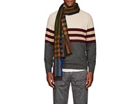 Drakes Checked Cashmere Scarf Navy
