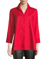 Finley 3 4 Sleeve Button Front Easy Fit Swing Shape Cotton Blouse Red