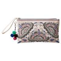 East Embroidered Clutch Bag Stone