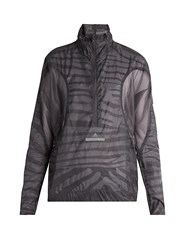Adidas By Stella Mccartney High Neck Mesh Panel Performance Jacket Dark Grey