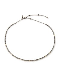 Alexis Bittar Crystal Spike Choker Necklace Silver
