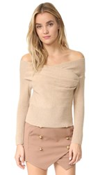 Michelle Mason Cross Wrap Sweater Nude