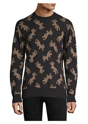 Ovadia And Sons Leopard Jacquard Cotton Sweater Black