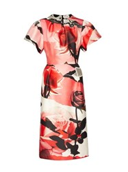 Alexander Mcqueen Rose Print Wool Blend Satin Dress Pink Multi