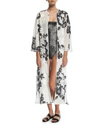 Marie France Van Damme Rose Embroidered Silk Open Caftan Coverup Multi
