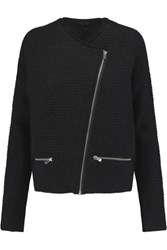Maje Ribbed Knit Cardigan Black