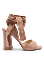 Gianvito Rossi Ankle Tie Suede Sandals Nude