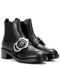 Miu Miu Faux Pearl Embellished Leather Ankle Boots Black