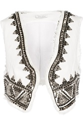 Balmain Embellished Denim Vest White