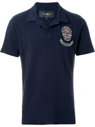 Hydrogen Embroidered Skull Polo Shirt Blue