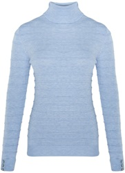 Austin Reed Rib Detail Roll Neck Jumper Blue