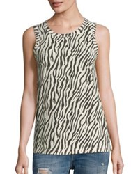 Current Elliott Zebra Printed Muscle Tee Dirty White Zebra Print