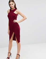 Asos Wrap Crepe Top Bodycon Midi Pencil Dress Oxblood Red