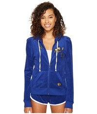 Juicy Couture Venice Beach Patches Microterry Puff Sleeve Jacket Blue Blaze Women's Coat