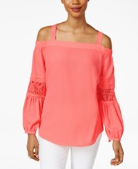 Thalia Sodi Off The Shoulder Peasant Top Only At Macy's Candy Coral
