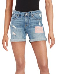 Lucky Brand Embroidered Denim Shorts Blue