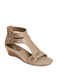 Aerosoles Yet Another Leather Wedge Sandals Taupe