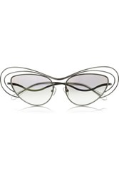 Erdem Cat Eye Metal Sunglasses Silver