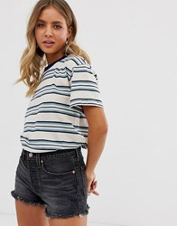 Quiksilver Striped T Shirt In Blue Cream