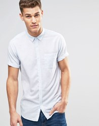 New Look Short Sleeve Shirt In Pale Blue Marl In Regular Fit Pale Blue