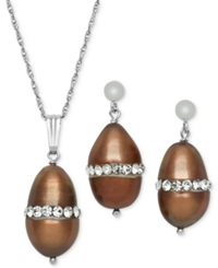 Macy's Sterling Silver Necklace And Earring Set Brown Cultured Freshwater Pearl 8Mm And Crystal Pendant And Earring Set