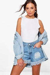 Boohoo Louise High Waisted Ultra Frayed Mom Shorts Mid Blue