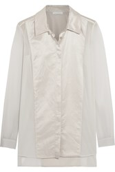 Donna Karan Satin Paneled Silk Blend Chiffon Shirt White