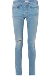 Balenciaga Distressed High Rise Skinny Jeans Blue