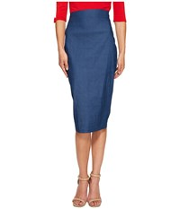 Unique Vintage Pencil Skirt Denim Women's Skirt Blue