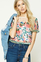 Forever 21 Mesh Embroidered Top Cream Coral