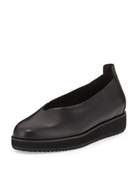 Eileen Fisher Canoe Leather Slip On Flat Black Women's