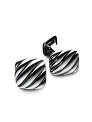 David Yurman Silver Cushion Cuff Links