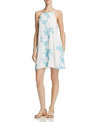 Aqua Embroidered A Line Dress 100 Exclusive Neon Turquoise White