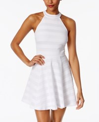 Emerald Sundae Juniors' Shadow Stripe Fit And Flare Dress White