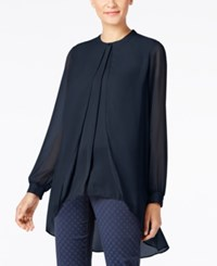 Alfani Chiffon Overlay Blouse Only At Macy's Navy Nautical