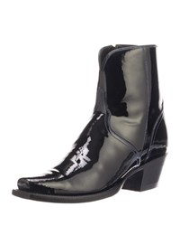 Lucchese Paz Shiny Ankle Boots Black