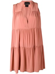 Erika Cavallini Sleeveless Tiered Dress Women Silk Acetate 42 Pink Purple