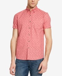 Kenneth Cole Reaction Men's Pineapple Print Short Sleeve Shirt Coral Combo
