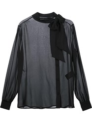 Saint Laurent Pussybow Sheer Blouse Black