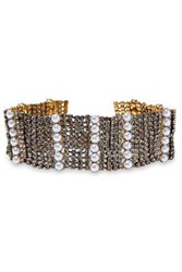Elizabeth Cole Gold Tone Crystal And Faux Pearl Choker White