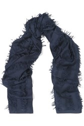 Chloe Fringed Wool And Silk Blend Scarf Navy