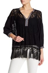 French Connection Long Sleeve Lace Front Tie Shirt Black