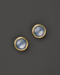 Marco Bicego 18K Yellow Gold Engraved Jaipur Stud Earrings With Chalcedony Gold Blue