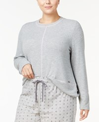 Nautica Plus Size Dolman Sleeve Pajama Top Grey Heather