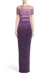 Pamella Roland Women's Signature Sequin Short Sleeve Column Gown